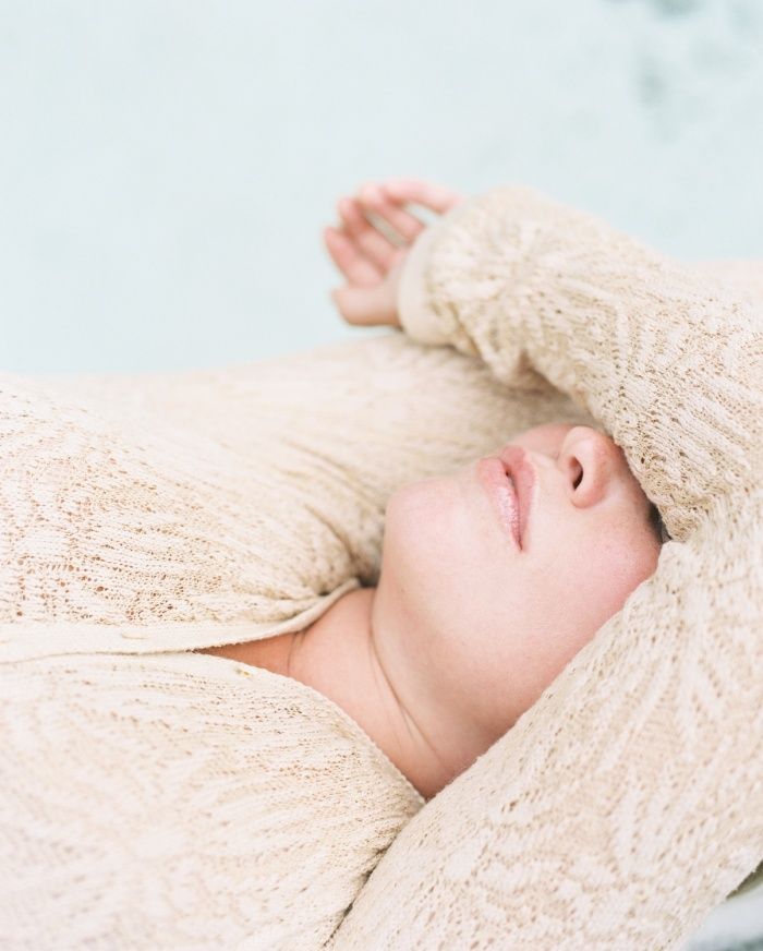 Model Lilly Turmelle wearing Emily Nora O'Neil Spring/Summer Knitwear Collection   Photograph by Caroline Goddard   Hope State Studio